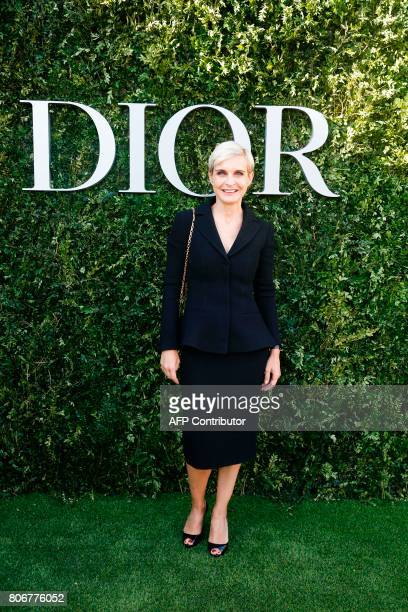 French producer Melita Toscan du Plantier poses as she arrives for the opening of the Dior exhibition that celebrates the seventieth anniversary of...