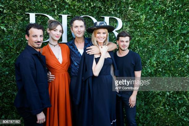 French singer Simon Buret lead singer of Hiphop group AaRON French actress Louise Bourgoin and Czech model Eva Herzigova pose as they arrive for the...