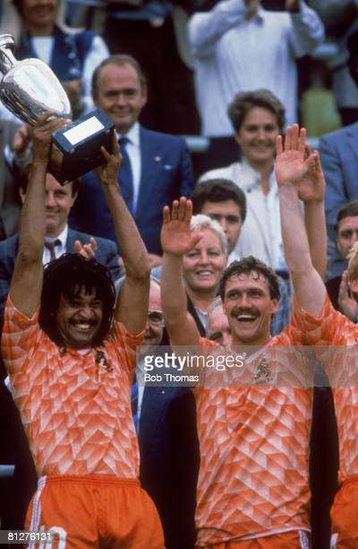 Dutch footballer Ruud Gullit of the Netherlands national team celebrates his team's win over the USSR in the European Championships Final in Munich...