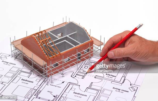 model house with interior design plans - industria edile foto e immagini stock