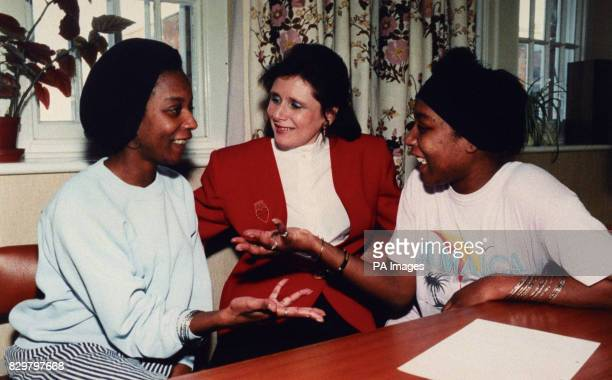 MARJORIE WALLACE, AUTHOR AND CHIEF EXECUTIVE OF SANE, WITH THE LATE JENNIFER GIBBONS [LEFT] AND HER TWIN SISTER JUNE, DURING A VISIT TO BROADMOOR IN...