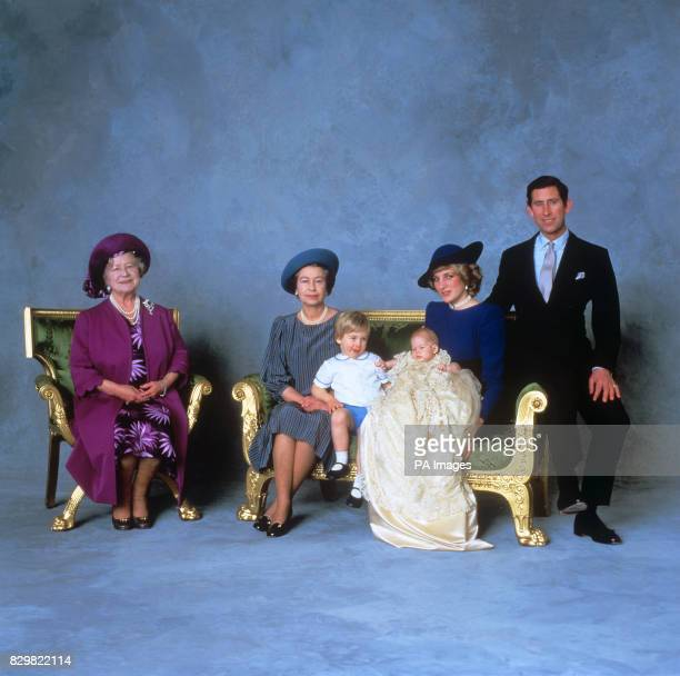THREE-MONTH-OLD PRINCE HENRY OF WALES WITH THE PRINCE AND PRINCESS OF WALES, ELDER BROTHER PRINCE WILLIAM, THE QUEEN AND THE QUEEN MOTHER ON THE...