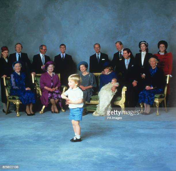 PRINCE HARRY, HENRY OF WALES WITH LARGE GROUP OF ROYAL RELATIVES AND GODPARENTS ON HIS CHRISTENING, AGED THREE MONTHS.