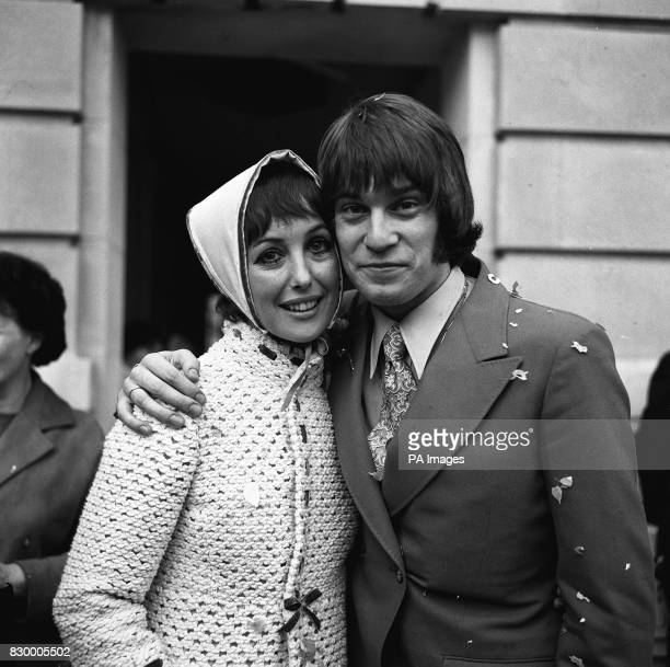 WITH HER BRIDEGROOM NICKY HENSON AFTER THEIR MARRIAGE AT WANDSWORTH TOWN LONDON