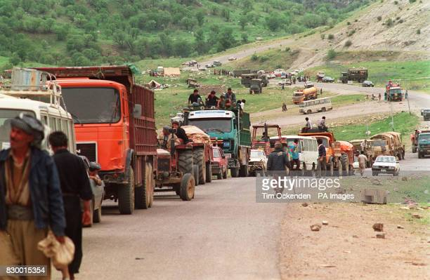 KURDISH REFUGEES MAKE THEIR WAY FROM THE SIK VEREN REFUGEE CAMP FROM THE MOUNTAINS INTO THE ALLIS SAFE HAVEN IN NORTHERN IRAQ