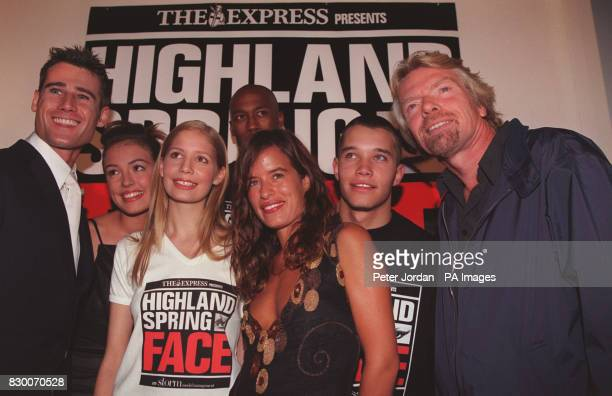 PA NEWS 16/9/98 FROM RIGHT: RICHARD BRANSON, HAYDN REID , JADE JAGGER, OSANDU BYFIELD , VICKY MURDOCH WITH TIM VINCENT AT THE HIGHLAND SPRING FACE OF...