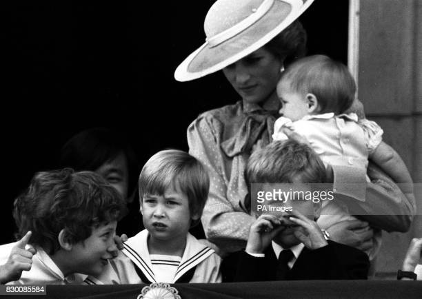 LORD FREDERICK WINDSOR PRINCE WILLIAM AND PETER PHILLIPS ON THE BALCONY OF BUCKINGHAM PALACE LONDON DURING THE TROOPING OF THE COLOUR CEREMONY