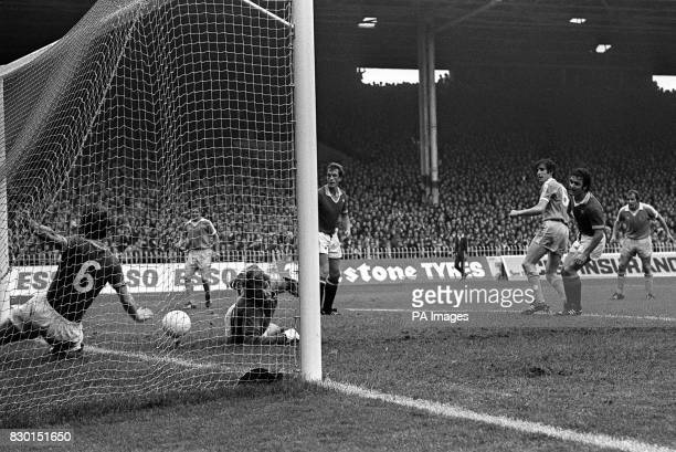 S MARTIN BUCHAN MAKING A GOALLINE CLEARANCE AFTER HIS GOALKEEPER ALEX STEPNEY HAD FAILED TO MASTER A MANCHESTER CITY ATTACK DURING THE LEAGUE...