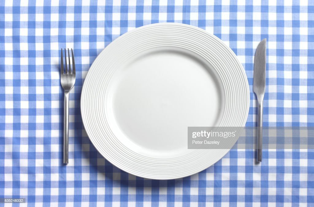 EMPTY PLATE WITH COPY SPACE : Stock Photo