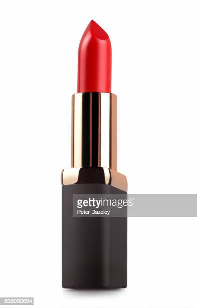 close up of red lipstick - lippenstift stock-fotos und bilder
