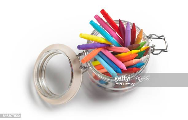 coloured crayons and felt pens on a white background - felt tip pen stock pictures, royalty-free photos & images