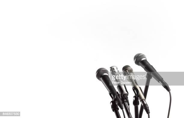 copy space and microphones - microphone stand stock photos and pictures