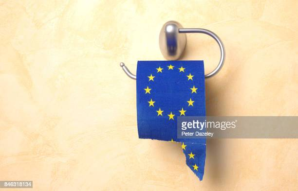 torn euro toilet roll - british and eu flag stock pictures, royalty-free photos & images