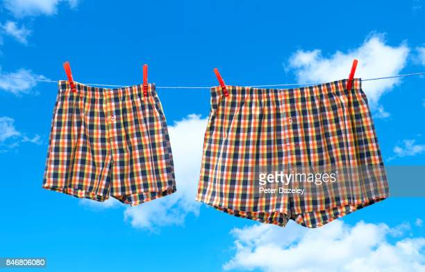 small and obese boxer shorts on washing line - boxershort stock pictures, royalty-free photos & images