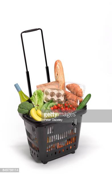 SHOPPING BASKET WITH FOOD ON WHITE BACKGROUND