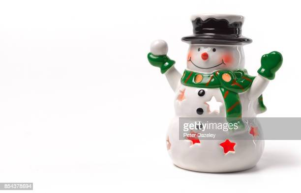 christmas snowman tea light holder - snowman stock pictures, royalty-free photos & images