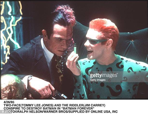 "4/26/95 LOS ANGELS, CA TWO-FACE AND THE RIDDLER CONSPIRE TO DESTROY BATMAN IN ""BATMAN FOREVER"""