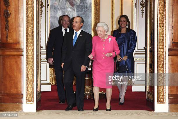 The President of the United Mexican States Felipe Calderon and his wife senora Margarita Zavala accompanied by Queen Elizabeth II and Prince Philip...