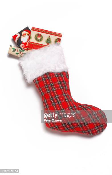 christmas stocking close up with presents - stockings photos stock pictures, royalty-free photos & images