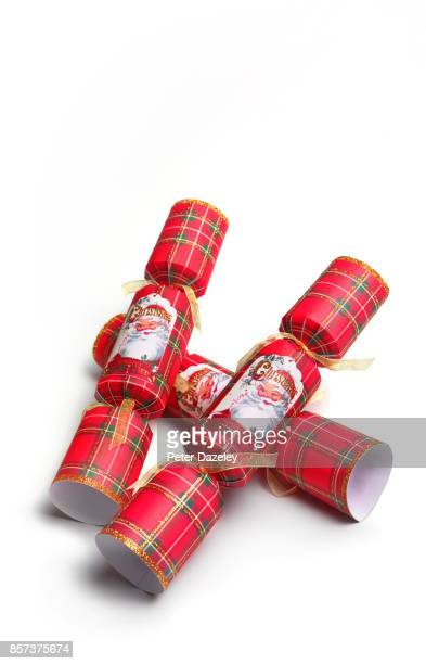 GENERIC CHRISTMAS CRACKERS ON WHITE BACKGROUND