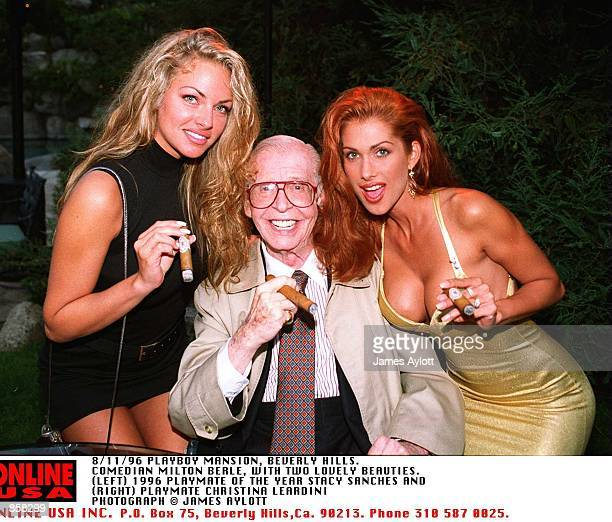 8/11/96 PLAYBOY MANSION BEVERLY HILLS LIVING LEGEND MILTON BERLE WITH TWO BEAUTIFUL PLAYMATES PLAYMATE OF THE YEAR 96 STACY SANCHES AND PAYBOY...