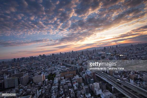 早朝の大阪市の風景