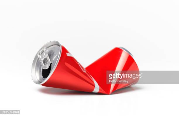 crushed soda can for recycling - crushed stock pictures, royalty-free photos & images