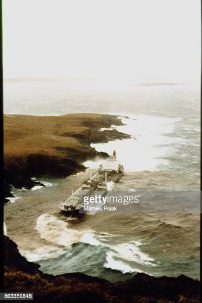 LIBERIAN OIL TANKER 'BRAER' SINKS NEAR THE SHETLAND ISLANDS