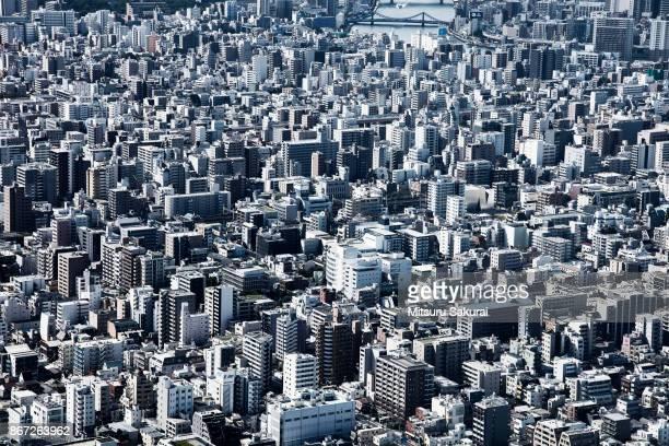 sky city - elevated view ストックフォトと画像