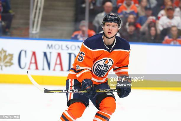 Edmonton Oilers Right Wing Kailer Yamamoto watches the play in the third period during the Edmonton Oilers game versus the Detroit Red Wings at...