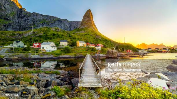 lofoten summer landscape - lofoten stock pictures, royalty-free photos & images