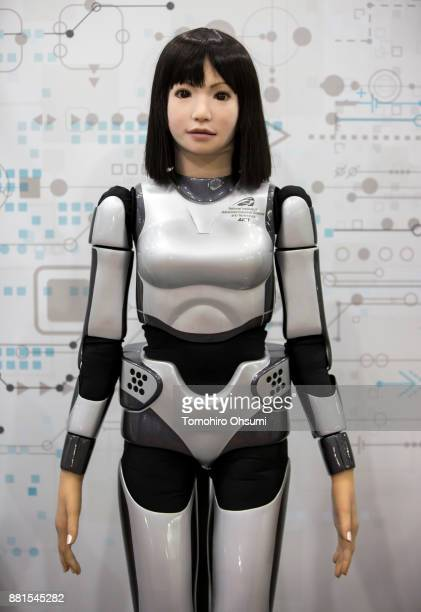 The HRP4C humanoid robot is seen in the National Institute of Advanced Industrial Science and Technology booth during the International Robot...