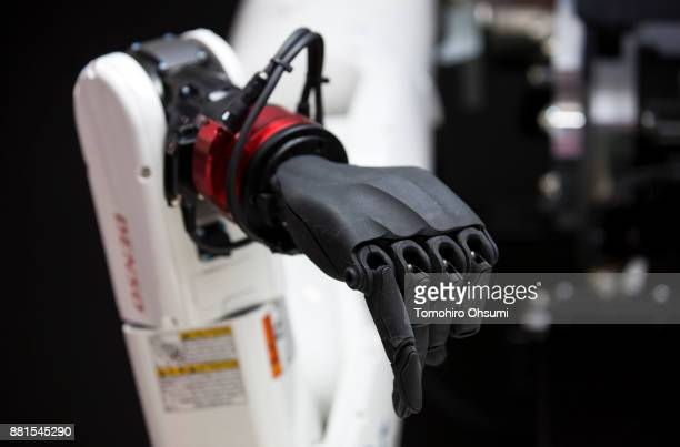 A multimodal AI robot is demonstrated in the Denso Corp booth during the International Robot Exhibition 2017 at the Tokyo Big Sight on November 29...