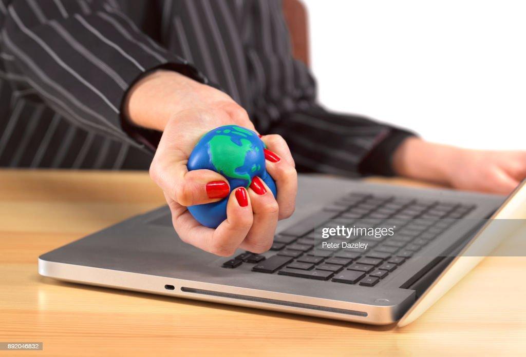 GLOBE STRESS BALL : Stock Photo
