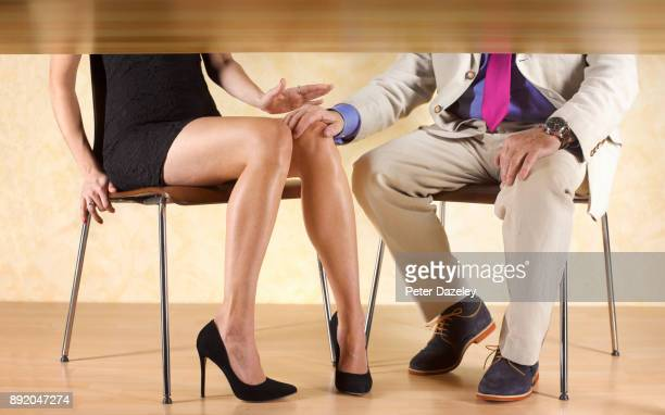 man groping a woman getting a slap - women groping men stock pictures, royalty-free photos & images