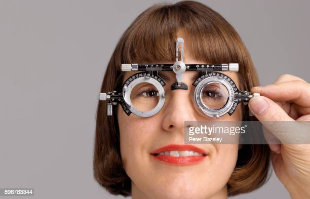geek eye test - eye test equipment stock pictures, royalty-free photos & images