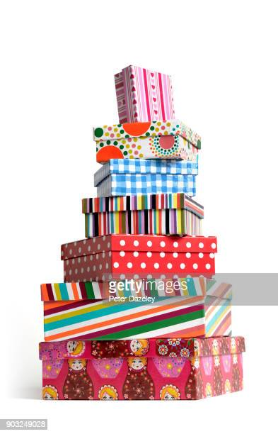 christmas pile stack of present boxes - stack stock pictures, royalty-free photos & images