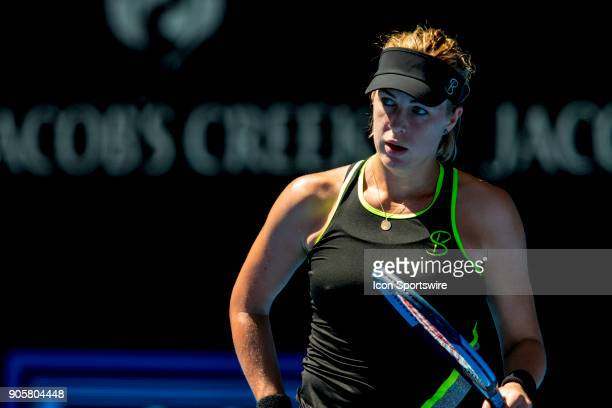 Anastasia Pavlyuchenkova of Russia looks over the net towards her opponent in her second round match during the 2018 Australian Open on January 17 at...