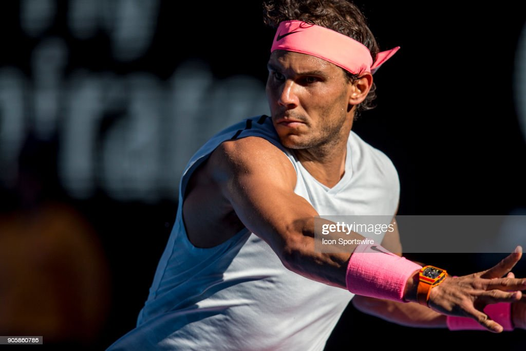 Rafael Nadal of Spain plays a shot in his second round match during the 2018 Australian Open on January 17, 2018, at Melbourne Park Tennis Centre in Melbourne, Australia. (Photo by Jason Heidrich/Icon Sportswire via Getty Images)MELBOURNE, VIC - JANUARY 17: