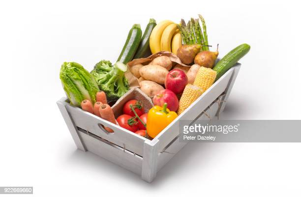 5 a day fresh fruit and veg box - fruit stock pictures, royalty-free photos & images
