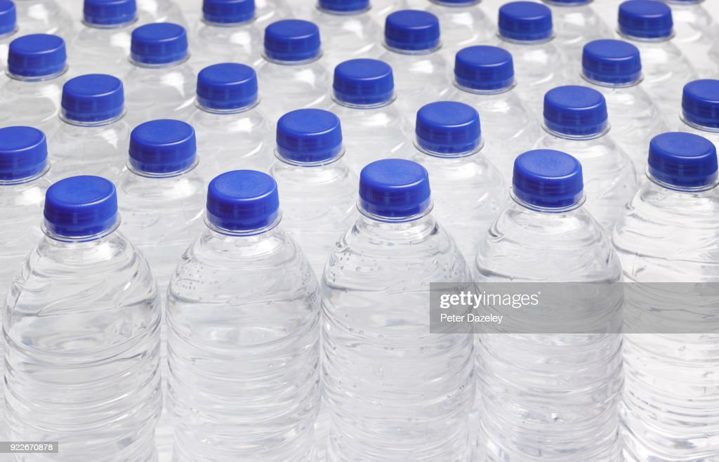 PRODUCTION LINE OF DRINKING WATER BOTTLES : Stock Photo