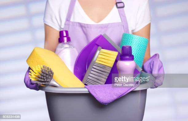 professional cleaner preparing to spring clean - hygiene stock pictures, royalty-free photos & images