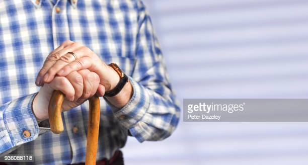 pensioner with dementia and copy space - fragility stock pictures, royalty-free photos & images