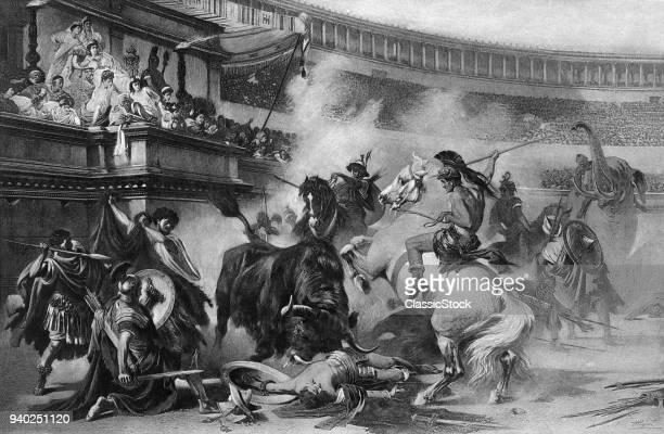 ENGRAVING BULLFIGHT IN ROMAN ARENA GLADIATORS HORSES ELEPHANT ALL FIGHTING BEFORE SPECTATORS ANCIENT ROMAN EMPIRE