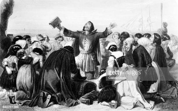 1620 EMBARKATION PILGRIM FATHERS PRAYING FOR GUIDANCE BEFORE SETTING SAIL MAYFLOWER TO PLYMOUTH COLONY MASSACHUSETTS
