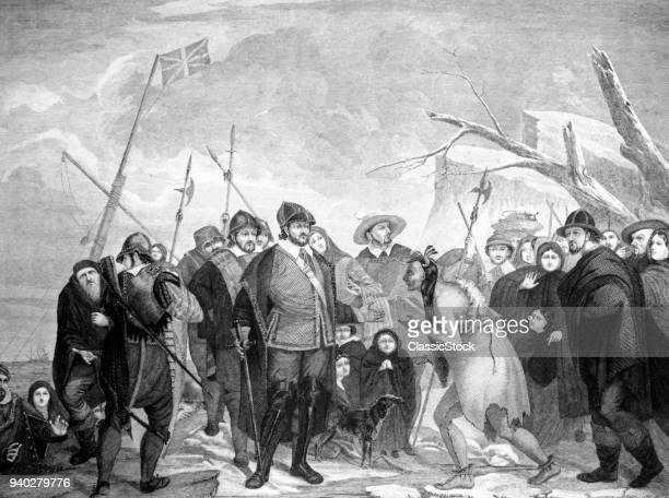 1620 LANDING OF PILGRIM COLONISTS ON SHORE MILES STANDISH MEETING INDIANS PLYMOUTH ROCK COLONY MA COLONIAL NORTH AMERICA