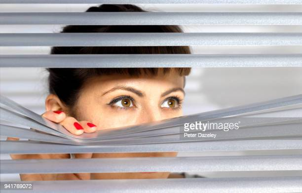 obsessive woman spying on her neighbour through window - witness stock pictures, royalty-free photos & images