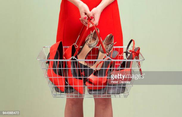 shopaholic shoe addiction - fashion collection stock pictures, royalty-free photos & images