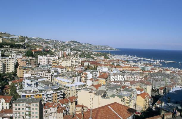 VIEW OF THE TOWN AND THE MARINA FROM LA PIGNA, SAN REMO, LIGURIA, ITALY.