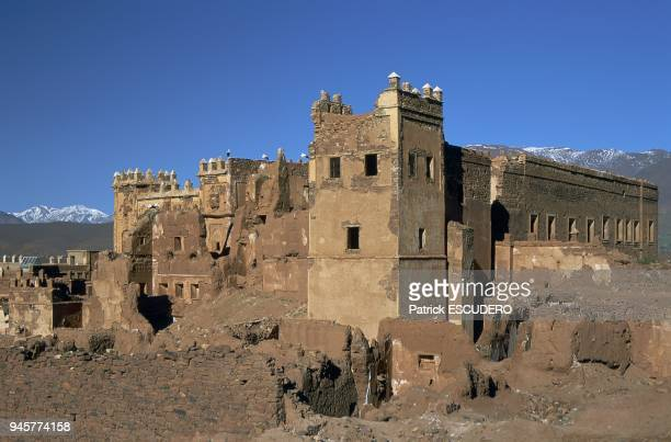 VALLEY AND VILLAGE TELOUET, KASBAH OF GLAOUI, HIGH ATLAS, MOROCCO.